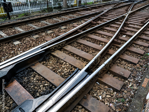 Fotobehang Spoorlijn 線路、切り替え、ポイント、レール。