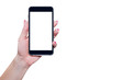 Phone in hand. The female hand holds a blank screen phone on a white background. Refill content on your phone, mobile phone.