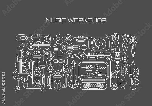 Keuken foto achterwand Abstractie Art Music Workshop vector illustration