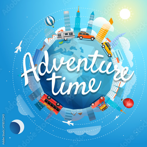 Adventure time vector illustration. Travel concept with lettering logo