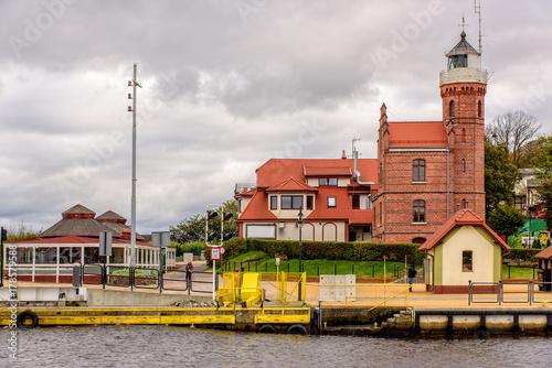 Fotobehang Vuurtoren Leuchtturm Ustka Westpommern Ostsee