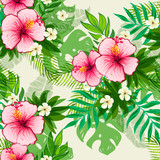 Seamless exotic pattern with tropical leaves and flowers. - 178579782