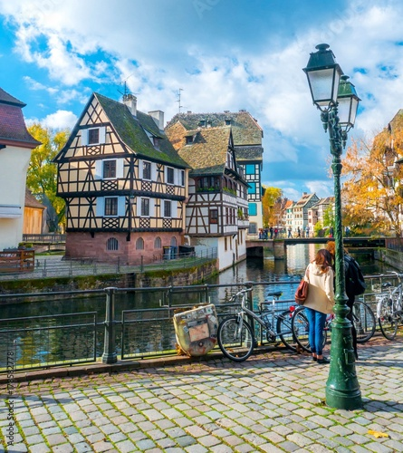 Typical house near water from La Petite France in Strasbourg, Alsace, France © Alexi Tauzin