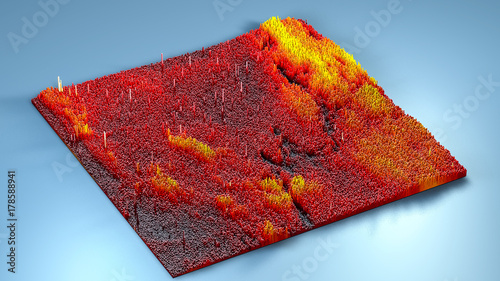 Foto op Canvas Rood paars 3d rendering topography with cubes