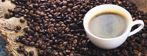 Fried coffee beans. Coffee mug on the background of coffee beans. Panorama, banner. © fydorov