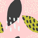 Modern seamless pattern with hand drawn shapes in black, green and pastel colors on pink background.