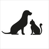 dog with a cat on a white background - 178593170