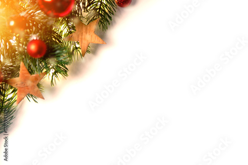 Christmas background with christmas balls, gifts and decoration - 178594339