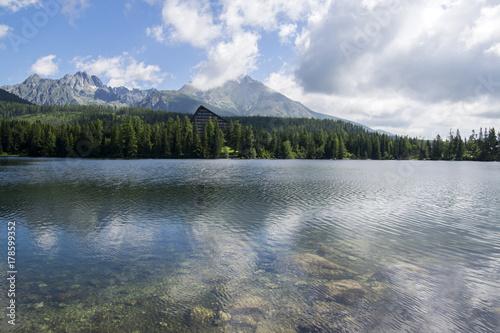 Foto op Plexiglas Bergen Strbske pleso, High Tatras mountains, Slovakia, early summer morning, lake reflections