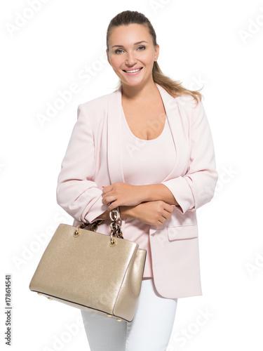 Plakat Portrait of an adult  smiling woman with handbag