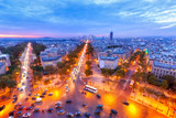 Paris, France. Panoramic view from Arc de Triomphe. La Defense district and Avenues. Europe. Twilight scenery. Paris is extremely popular and famous European city and travel destination.