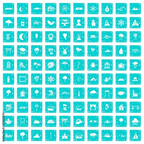 Papiers peints Turquoise 100 scenery icons set grunge blue