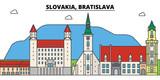 Slovakia, Bratislava outline city skyline, linear illustration, line banner, travel landmark, buildings silhouette,vector