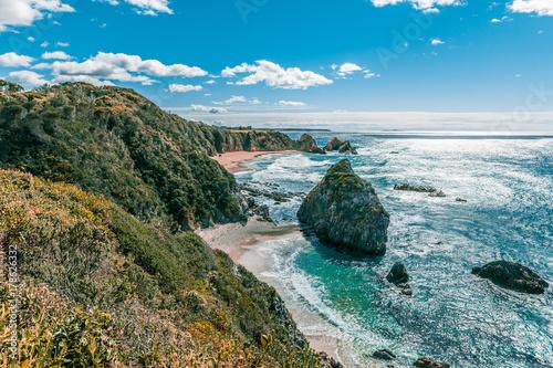 Foto op Aluminium Blauw Ocean coastline on bright sunny day in NSW Australia