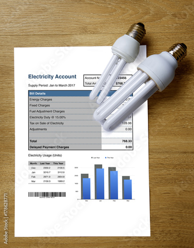 Electricity account bill with two light bulbs. Poster