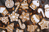 Homemade Christmas cookies on a wooden background  - 178630391