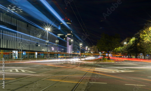 night traffic in the city center, Szczecin, Poland