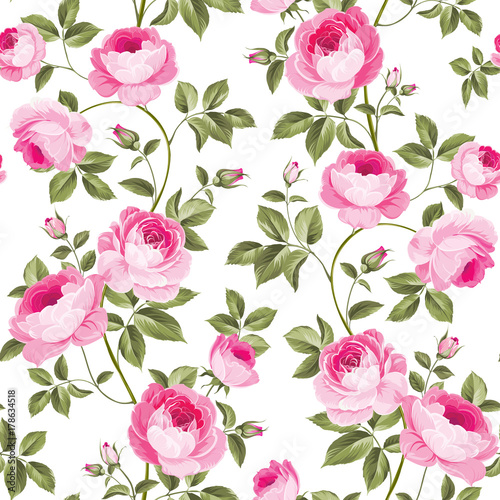 Luxurious peony wallapaper in vintage style. Seamless pattern of blooming roses for floral wallpaper. Vector illustration. - 178634518