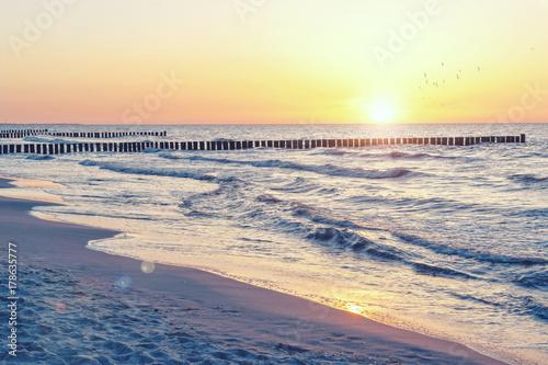 Poster Noordzee Ostsee Sonnenuntergang