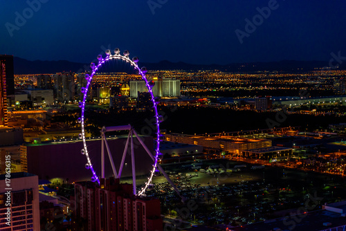 Aerial view of Las Vegas strip in Nevada at night - USA Poster