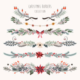 Christmas borders collection with decorative hand drawn seasonal flowers and plants