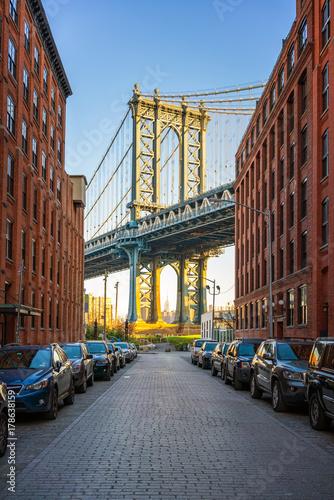 View on Manhattan bridge from washington street in Brooklyn Poster