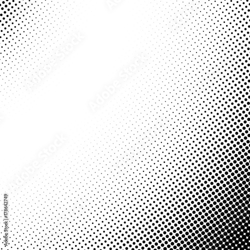 Fotobehang Pop Art Vector abstract dotted halftone template background. Pop art dotted gradient design element. Grunge halftone textured pattern with dots.