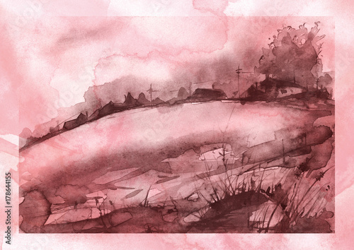 Foto op Plexiglas Lichtroze Watercolor painting. Silhouettes of villages, on a hill, among a forest, rivers. burgundy color. Postcard, poster, handmade illustration.