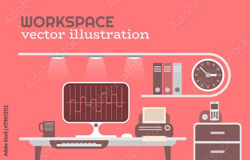 Foto op Plexiglas Abstractie Art Office Workspace vector illustration