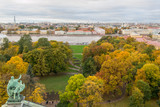 View of Saint-Petersburg and Neva river from the colonnade of St. Issak's Cathedral. Autumn, 2017