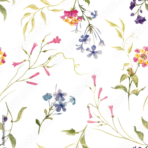 Watercolor floral vector pattern - 178657331
