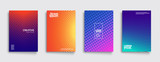 Minimal covers design. Cool gradient colors. Geometric halftone gradients. Eps10 vector. - 178658585