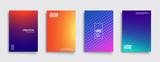 Minimal covers design. Cool gradient colors. Geometric halftone gradients. Eps10 vector. - 178658585