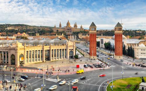 Fotobehang Barcelona Barcelona, Espana square with MNAC, Spain