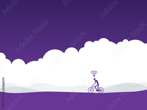 Poster Snoeien Healthy active lifestyle vector concept with cyclist on a bike in landscape with wifi symbol over his head. Fitness tracker, sport monitor concept.