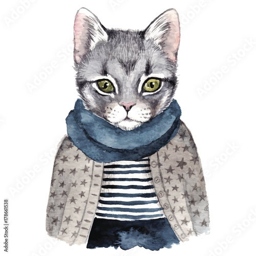 Cute cat . Watercolor hand drawn illustration - 178661538