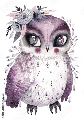 Watercolor owl with flowers. Hand drawn illustration with bird in boho style.Nursery printable poster - 178662321