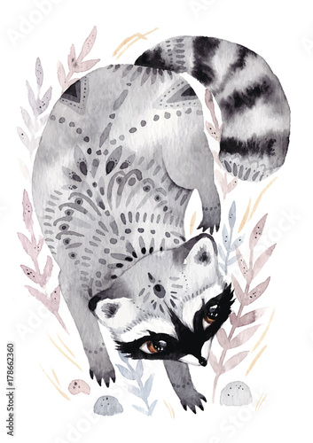 Watercolor raccoon with ornaments. Hand drawn illustration with bird in boho style. Nursery printable poster - 178662360