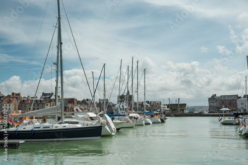 Yachts moored at quay port of Dieppe, France Poster