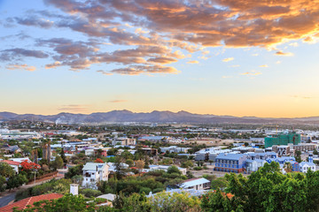 Sunset over Windhoek city panorama with mountains in the background, Windhoek, Namibia © vadim.nefedov