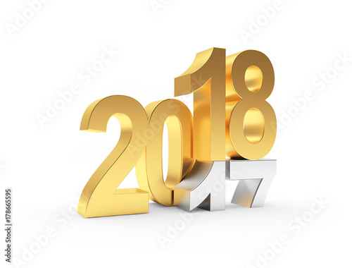Silver 2017 changed to golden 2018 New Year. 3D illustration