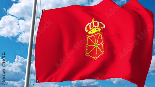 Waving flag of Navarre, an autonomous community in Spain. 3D rendering