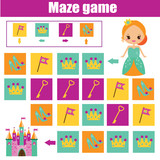 Maze game. Kids activity sheet. Logic labyrinth with code navigation