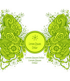 Template with Beautiful abstract marine flowers bouquet in green yellow on white