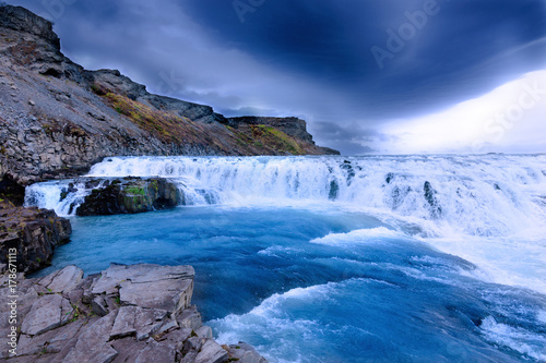 Gullfoss Waterfal Icelandic scenery - 178671113