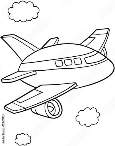 Fotobehang Cartoon draw Cute Aircraft Vector Illustration Art