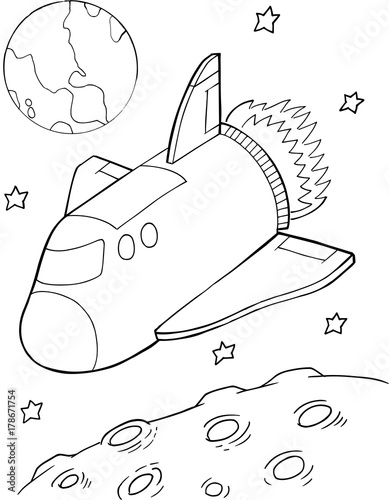Foto op Canvas Cartoon draw Cute Space Shuttle Vector Illustration Art