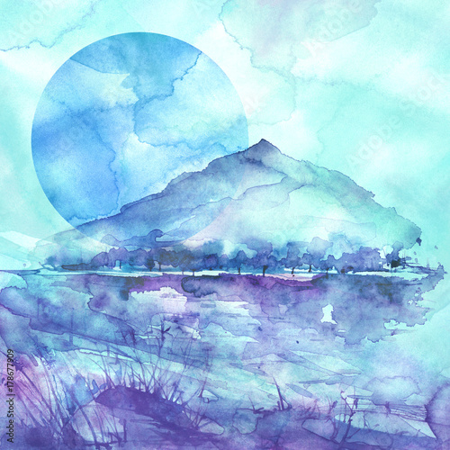Fotobehang Lichtblauw Watercolor mountain landscape, blue, purple mountains, peak, forest silhouette, reflection in the river, blue moon, full moon. Wild grass, highlands, branches, flowers. Watercolor landscape, painting.