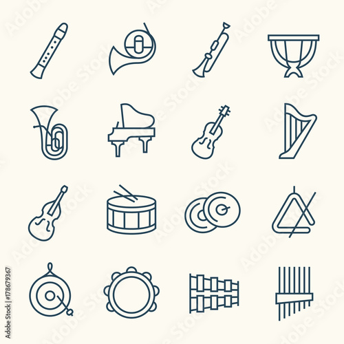 Fototapeta Orchestra instruments line icons