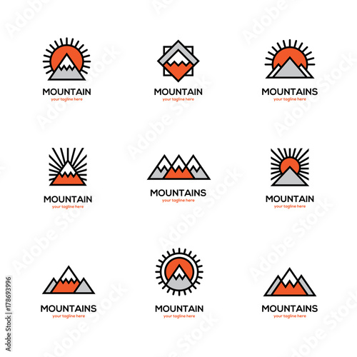 Mono line mountain icon set. - 178693996